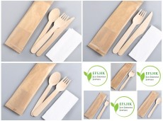 Eco-Friendly Disposable Paper-individually-packed Wooden Tableware Set (Individual Kraftaper Pack)