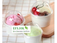 Eco-Friendly Ice Cream Cup Dessert Paper Bowl White Round Double-coated 3/5/8oz