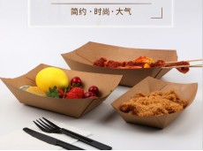 Eco-Friendly Kraft Paper Boat Box Snack Box Fried Chicken Fries Chicken Popcorn Box