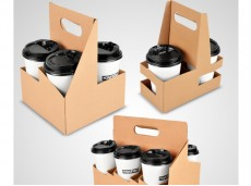 Eco-Friendly Take-Out Paper Handled Cup Holder 2/4/6 Cups Paper Cup Holder with Handle Coffee Cup Holder