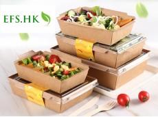 Eco-Friendly Transparent Lid Kraft Paper Box Salad Box Sushi Square Bento