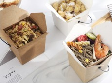 Eco-friendly Portable Kraft Paper Fast Food Box Fast Food Lunch Box Spaghetti Fried Rice Takeaway Packaging Box (Need To Be Folded)