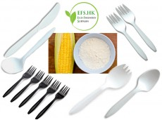 Eco-friendly Starch Biodegradable Tableware 6-Inch Disposable High-Grade Thickened Cutlery Spoon Fork Knife