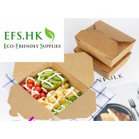 Environmental-friendly Kraft Coated Lunch Box Fast Food Box Takeaway Packaging Box Bento Box Square Lunch Box