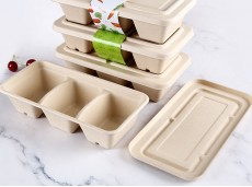 Environmentally-friendly Bio-degradable Straw Pulp Box Takeaway Divided Compartment Meal Box 900ml Three-compartment Box