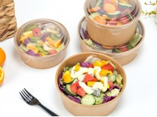Environmentally-friendly Kraft Paper Bowl 750Ml / 1000Ml / 1200Ml High-End Salad Bowl With Lid Kraft Paper Bowl