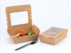 Green Kraft Paper Window Salad Box Sushi Bento Lunch Box