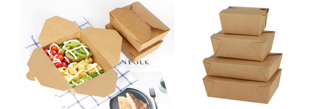 Environmental-friendly Kraft Coated Lunch Box Square Meal Box